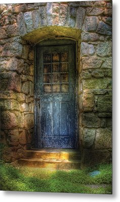Door - A Rather Old Door Leading To Somewhere Metal Print by Mike Savad