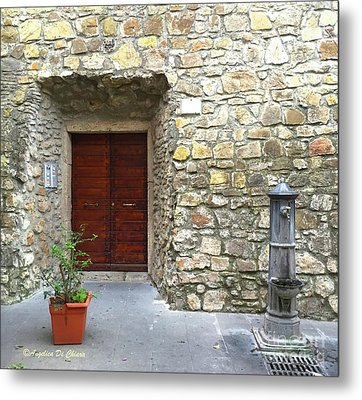 Door And Fountain  In Anzio Italy Metal Print