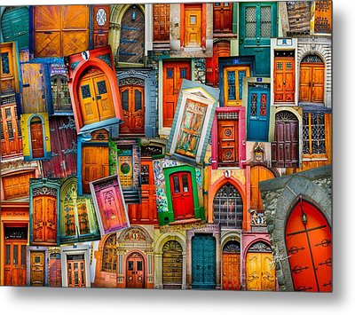 Door Collage Mashup Metal Print by TK Goforth