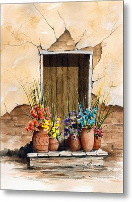 Door With Flower Pots Metal Print by Sam Sidders