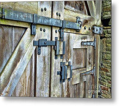 Doors At Caerphilly Castle Metal Print