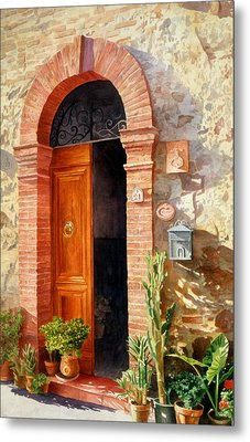 Metal Print featuring the painting Doorway In Tuscany Number 2 by Bob Nolin
