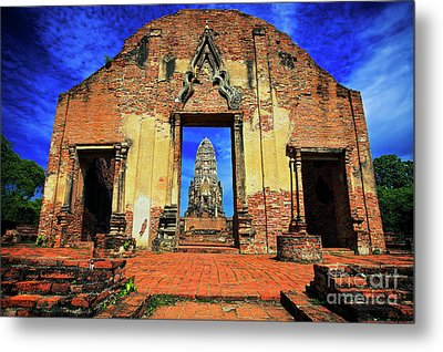Doorway To Wat Ratburana In Ayutthaya, Thailand Metal Print