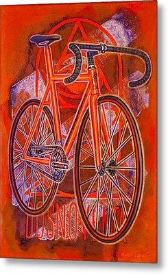 Dosnoventa Houston Flo Orange Metal Print