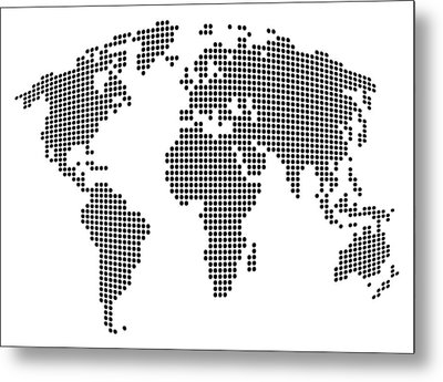 Dot Map Of The World - Black And White Metal Print by Michael Tompsett