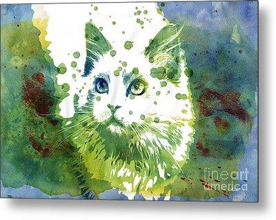 Dotted Cat Metal Print by Jutta Maria Pusl
