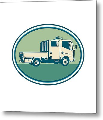 Double Cab Pick-up Truck Oval Woodcut Metal Print by Aloysius Patrimonio