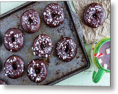 Double Chocolate Peppermint Iced Donuts Metal Print by Teri Virbickis