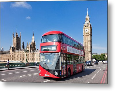 Double-decker Bus Moving On Westminster Metal Print