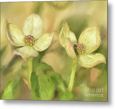 Metal Print featuring the digital art Double Dogwood Blossoms In Evening Light by Lois Bryan