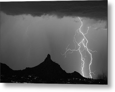 Double Lightning Pinnacle Peak Bw Fine Art Print Metal Print