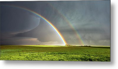 Double Rainbow And Tornado Metal Print by Shane Linke