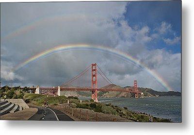 Metal Print featuring the photograph Double Rainbow Golden Gate Bridge by Steve Siri