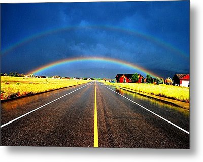 Double Rainbow Over A Road Metal Print by Matt Harang
