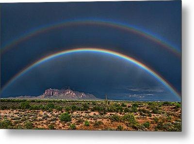 Metal Print featuring the photograph Double Rainbow  by Saija Lehtonen