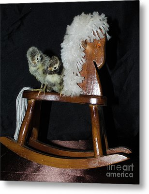 Double Seat Rocking Horse Metal Print