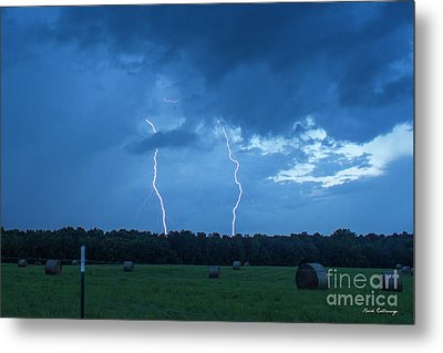 Double Trouble Dusk Thunderstorm Lightning Weather Art Metal Print