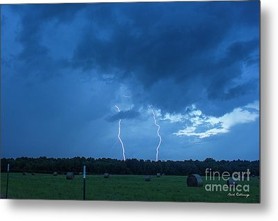 Double Trouble Too Dusk Thunderstorm Lightning Weather Art Metal Print