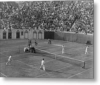 Doubles Tennis At Forest Hills Metal Print by Underwood Archives