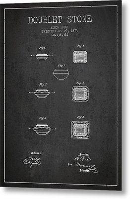 Doublet Stone Patent From 1873 - Charcoal Metal Print by Aged Pixel