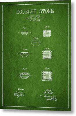 Doublet Stone Patent From 1873 - Green Metal Print by Aged Pixel