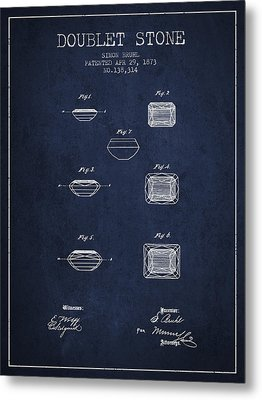 Doublet Stone Patent From 1873 - Navy Blue Metal Print by Aged Pixel