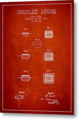 Doublet Stone Patent From 1873 - Red Metal Print