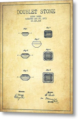 Doublet Stone Patent From 1873 - Vintage Metal Print by Aged Pixel
