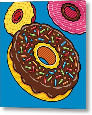 Doughnuts On Blue Metal Print by Ron Magnes