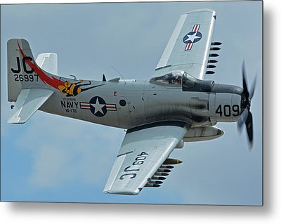 Metal Print featuring the photograph Douglas A-1d Skyraider Nx409z Chino California April 30 2016 by Brian Lockett