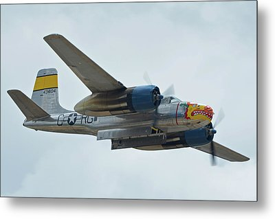 Metal Print featuring the photograph Douglas A-26b Invader Nl99420 Silver Dragon Chino California April 30 2016 by Brian Lockett
