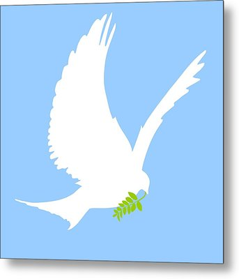 Dove And Olive Branch Metal Print by Colette Scharf