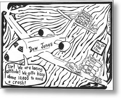 Dow Jones Airlines By Yonatan Frimer Metal Print by Yonatan Frimer Maze Artist