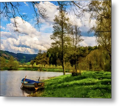 Down By The Lake Photodigitalpainting Metal Print by David Dehner