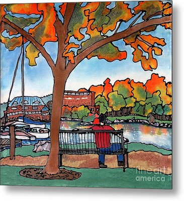 Down By The Waterfront On Silk Metal Print by Linda Marcille