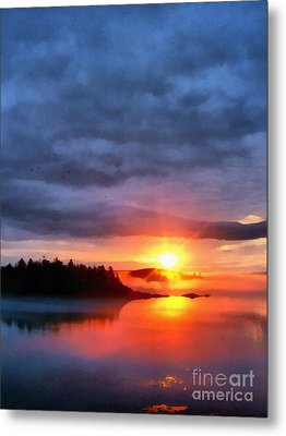 Down East Sunset Maine Metal Print by Edward Fielding