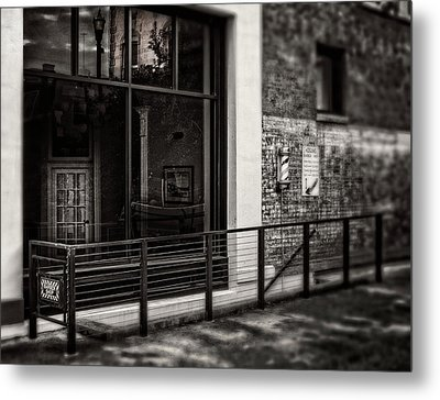 Metal Print featuring the photograph Down To The Barber Shop In Black And White by Greg Mimbs