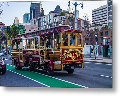Down Town Trolly Car Metal Print by Brian Williamson