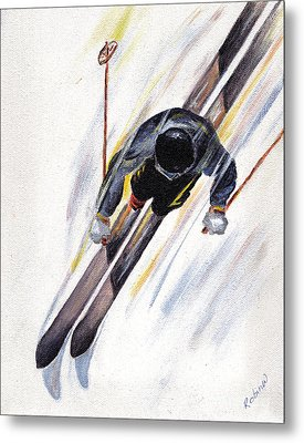 Downhill Skier Metal Print by Robin Wiesneth