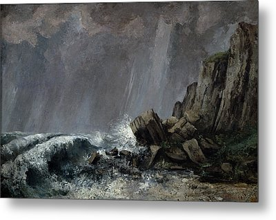 Downpour At Etretat  Metal Print by Gustave Courbet