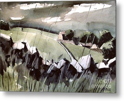 Metal Print featuring the painting Downpour In Gayle Uk by Charlie Spear