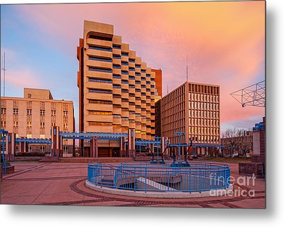 Downtown Albuquerque Harry E. Kinney Civic Plaza And Bernalillo County Clerk Office - New Mexico Metal Print by Silvio Ligutti