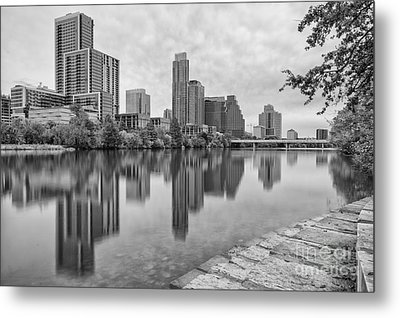 Downtown Austin In Black And White Across Lady Bird Lake - Colorado River Texas Hill Country Metal Print by Silvio Ligutti