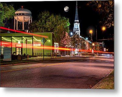 Downtown Bentonville Under A Full Moon Metal Print