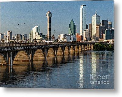 Downtown Dallas Bridge Metal Print