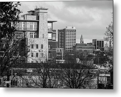 Downtown Fayetteville Arkansas Skyline - Dickson Street - Black And White Edition. Metal Print