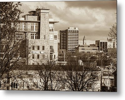 Downtown Fayetteville Arkansas Skyline - Dickson Street - Sepia Edition. Metal Print by Gregory Ballos