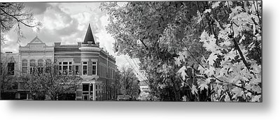 Downtown Fayetteville Arkansas Skyline Panorama - Black And White Metal Print
