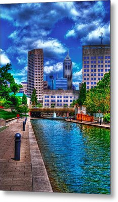 Downtown Indianapolis Canal Metal Print by David Haskett