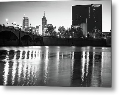 Downtown Indianapolis City Skyline - Black And White Metal Print by Gregory Ballos